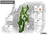 2015年07月26日の長野県の実況天気