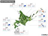 2015年07月27日の北海道地方の実況天気