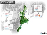 2015年07月28日の三重県の実況天気