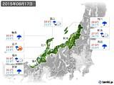 2015年08月17日の北陸地方の実況天気