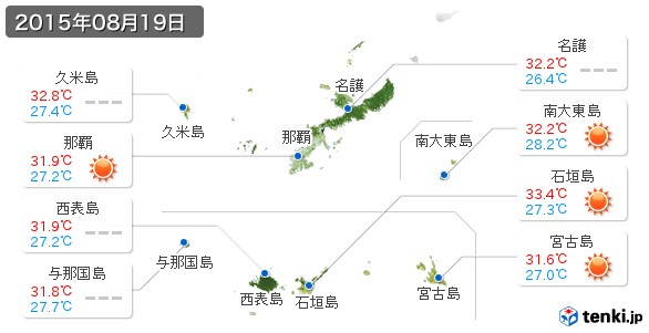 沖縄県(2015年08月19日の天気
