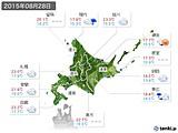 2015年08月28日の北海道地方の実況天気