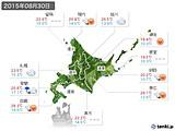 2015年08月30日の北海道地方の実況天気
