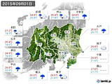 2015年09月01日の関東・甲信地方の実況天気