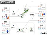 実況天気(2015年09月01日)