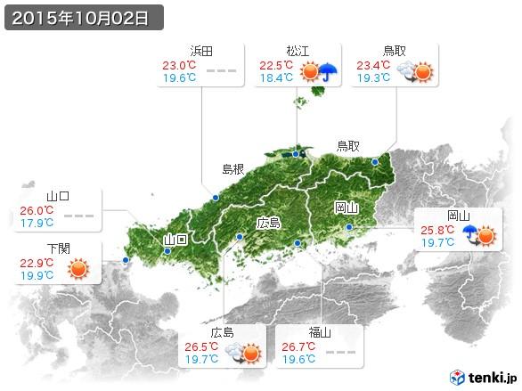 中国地方(2015年10月02日の天気