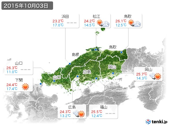 中国地方(2015年10月03日の天気