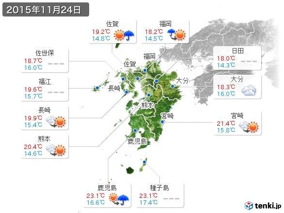 九州地方(2015年11月24日の天気