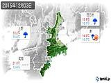 2015年12月03日の三重県の実況天気