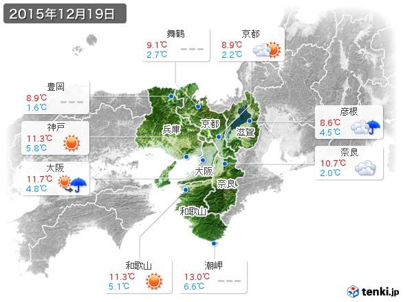 近畿地方(2015年12月19日の天気