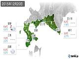 2015年12月20日の道南の実況天気