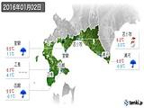 2016年01月02日の道南の実況天気