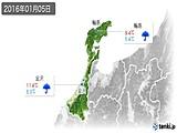 2016年01月05日の石川県の実況天気