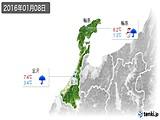 2016年01月08日の石川県の実況天気