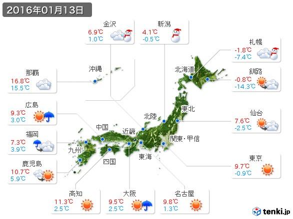 (2016年01月13日の天気