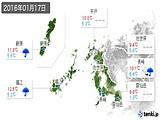 2016年01月17日の長崎県の実況天気