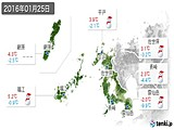 2016年01月25日の長崎県の実況天気