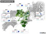 2016年02月01日の近畿地方の実況天気