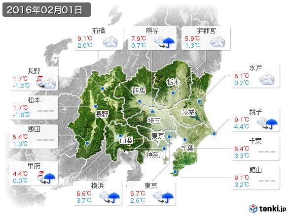 関東・甲信地方(2016年02月01日の天気