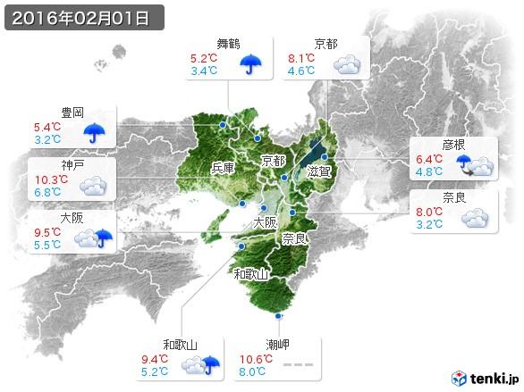 近畿地方(2016年02月01日の天気