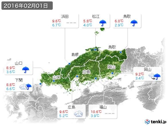 中国地方(2016年02月01日の天気