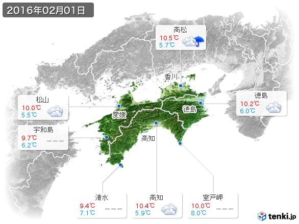 四国地方(2016年02月01日の天気