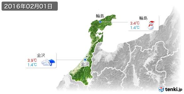 石川県(2016年02月01日の天気