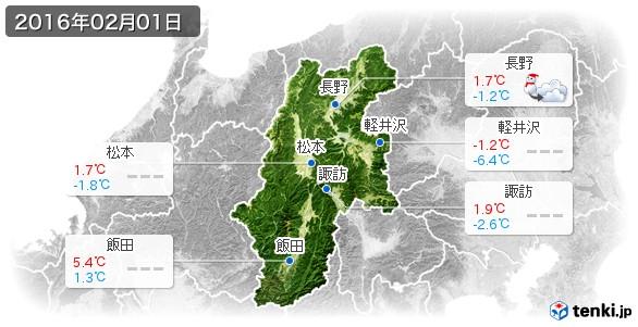 長野県(2016年02月01日の天気
