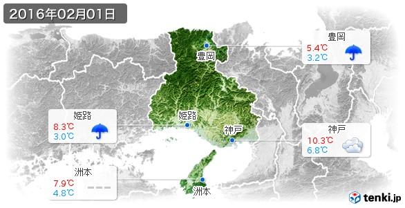 兵庫県(2016年02月01日の天気