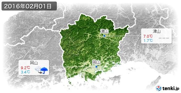 岡山県(2016年02月01日の天気