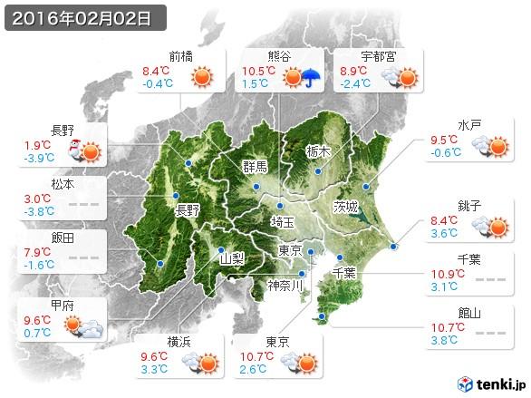 関東・甲信地方(2016年02月02日の天気
