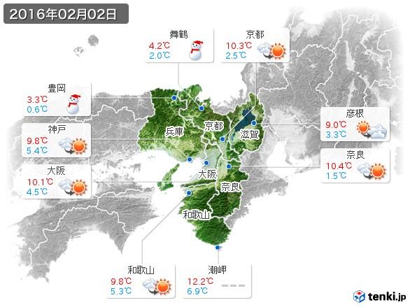 近畿地方(2016年02月02日の天気