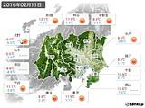 2016年02月11日の関東・甲信地方の実況天気