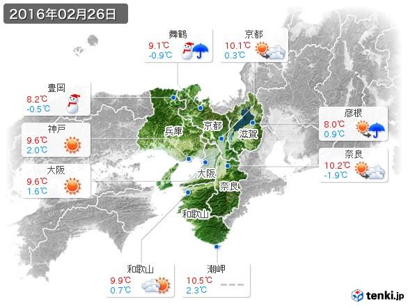 近畿地方(2016年02月26日の天気