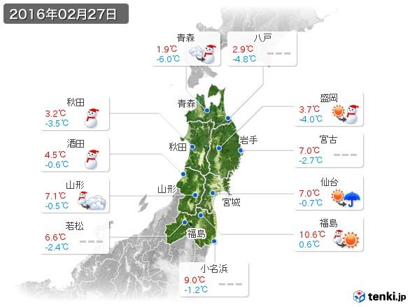 東北地方(2016年02月27日の天気