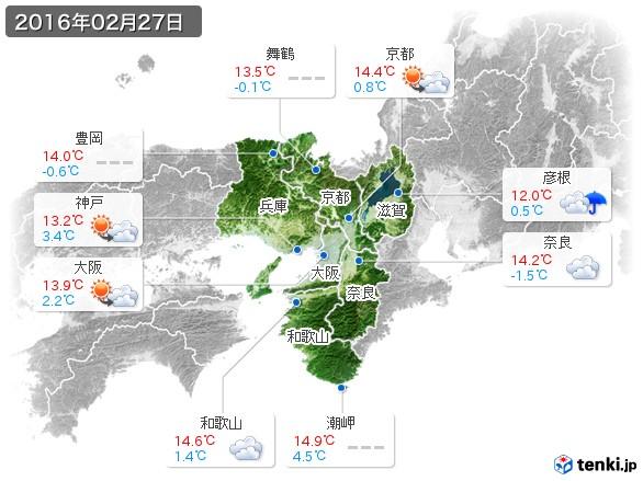 近畿地方(2016年02月27日の天気
