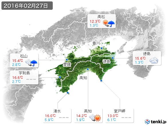 四国地方(2016年02月27日の天気