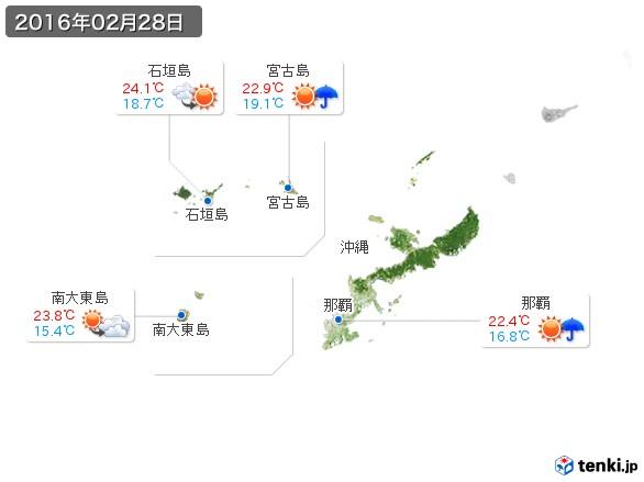 沖縄地方(2016年02月28日の天気