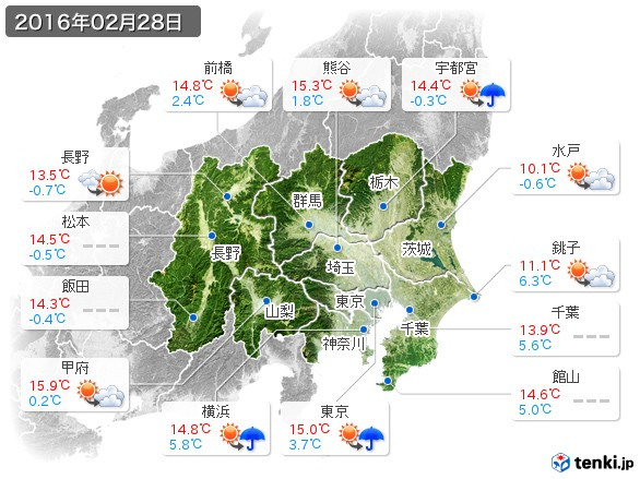 関東・甲信地方(2016年02月28日の天気
