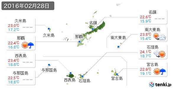 沖縄県(2016年02月28日の天気