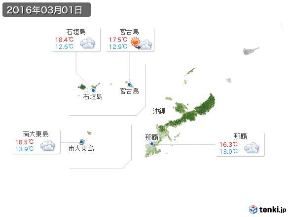 沖縄地方(2016年03月01日の天気