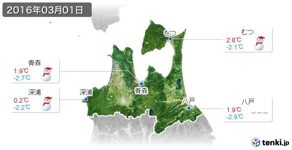青森県(2016年03月01日の天気