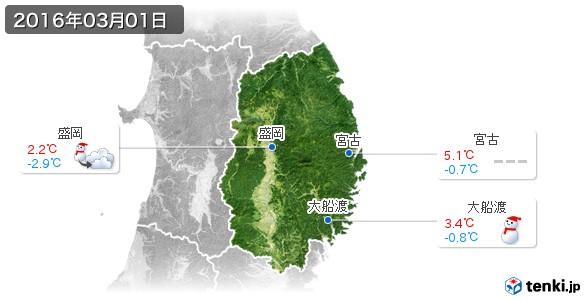 岩手県(2016年03月01日の天気
