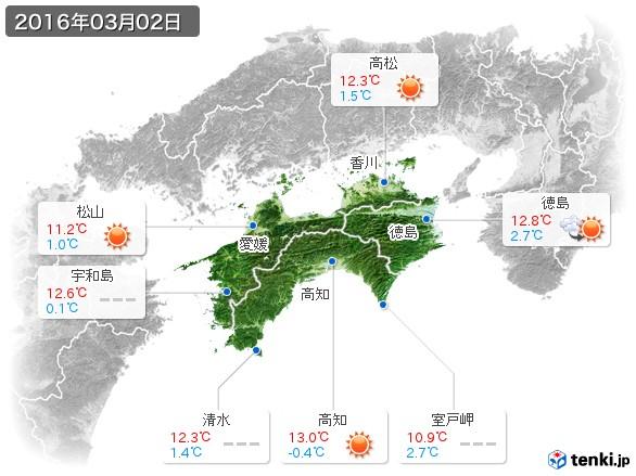 四国地方(2016年03月02日の天気