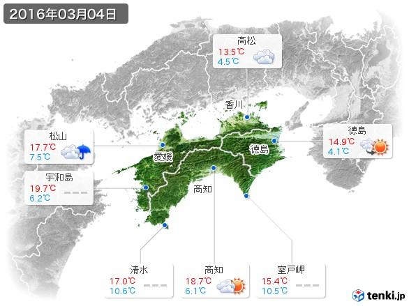 四国地方(2016年03月04日の天気