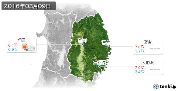 岩手県(2016年03月09日の天気