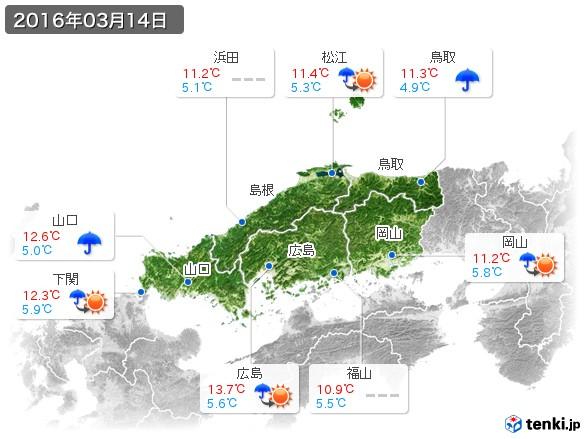 中国地方(2016年03月14日の天気