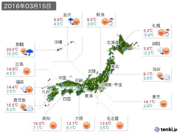 (2016年03月15日の天気