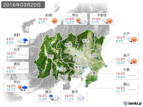 関東・甲信地方(2016年03月20日の天気