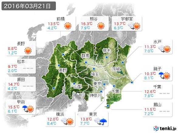 関東・甲信地方(2016年03月21日の天気